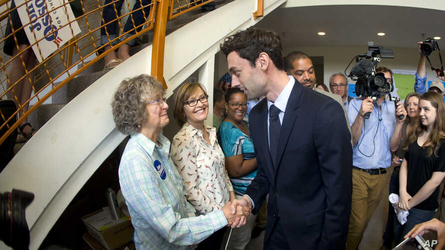 Democratic candidate for Georgia's Sixth Congressional seat Jon Ossoff greets supporters at a campaign field office, April 18, 2017, in Marietta.