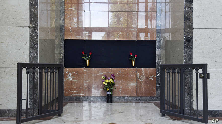 Flowers rest at the Judy Garland Pavilion, a semi-private mausoleum, at Hollywood Forever Cemetery, Jan. 30, 2017, in Los Angeles. Representatives for the cemetery and Garland's family say her remains have been moved from New York to the mausoleum.