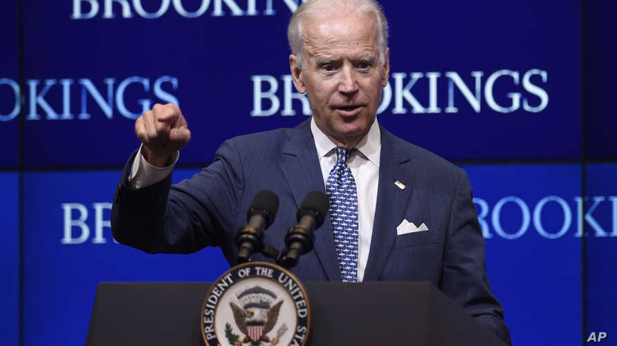"""U.S. Vice President Joe Biden, speaking about the conflict in Ukraine at the Brookings Institution in Washington, says """"Russia is taking steps to undermine its European neighbors and strengthen its hegemonic position,"""" May 27, 2015."""