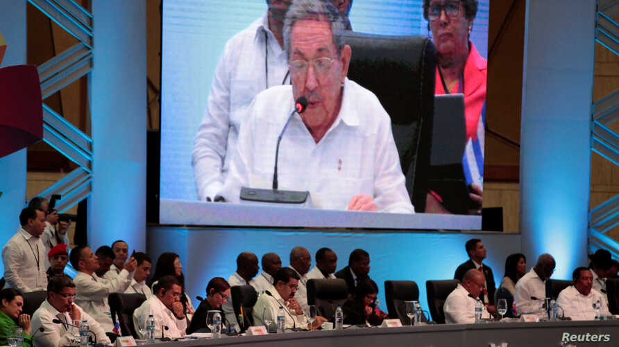 Regional leaders listen to a speech by Cuban President Raul Castro during the Community of Latin American and Caribbean States summit in Bavaro, Dominican Republic, Jan. 25, 2017.
