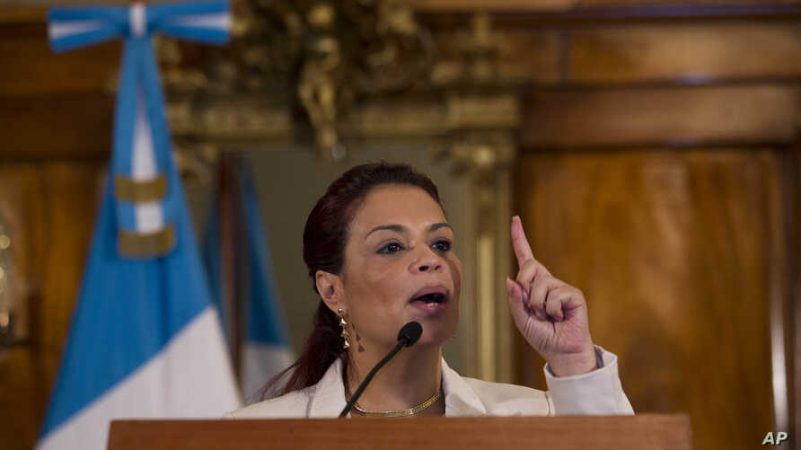 FILE - Guatemala's Vice President Roxana Baldetti speaks during a press conference at the Presidential House in Guatemala City, April 19, 2015.