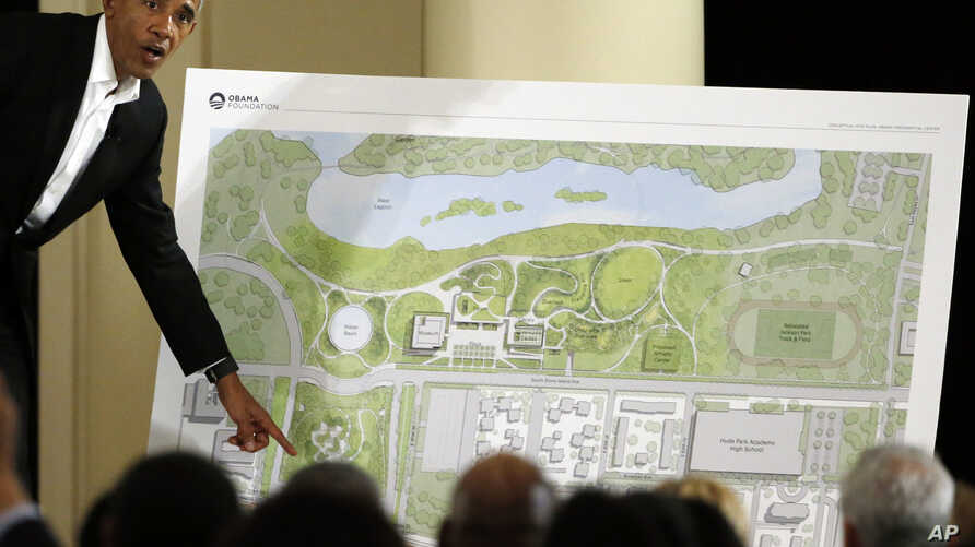 FILE - Former U.S. president Barack Obama speaks at a community event on a future Presidential Center, at the South Shore Cultural Center in Chicago, Illinois, May 3, 2017.