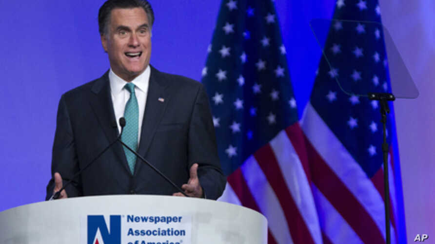 Republican presidential candidate, former Massachusetts Gov. Mitt Romney speaks at the Newspapers Association of America/ American Society of News Editors luncheon gathering in Washington, Wednesday, April 4, 2012.