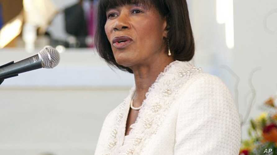 Jamaican Prime Minister Portia Simpson Miller speaks during her swearing-in ceremony at King's House in Kingston January 5, 2012.