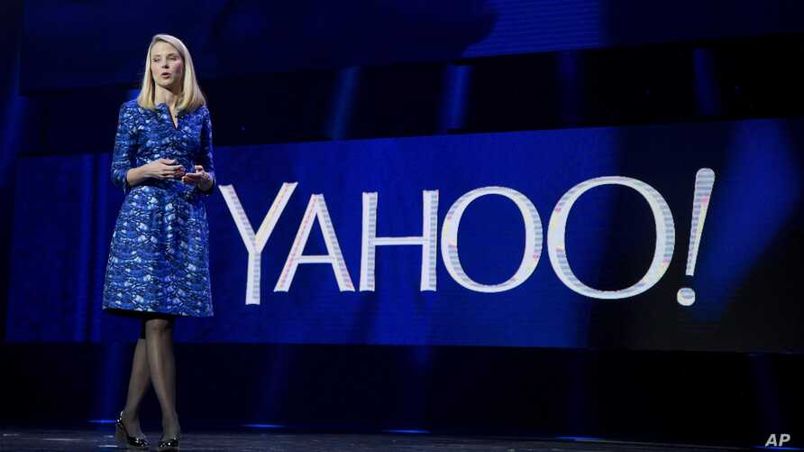 FILE - Yahoo President and CEO Marissa Mayer speaks during the International Consumer Electronics Show in Las Vegas, Jan. 7, 2014..