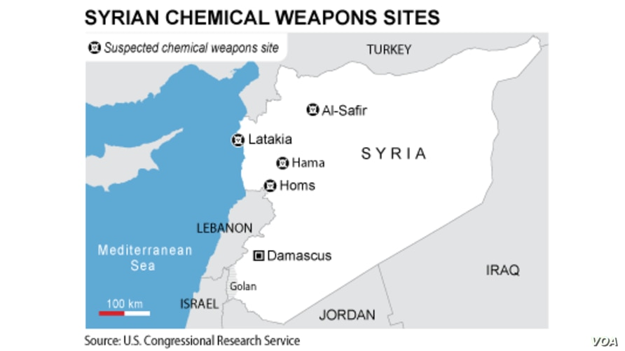 Syria, chemical weapons sites