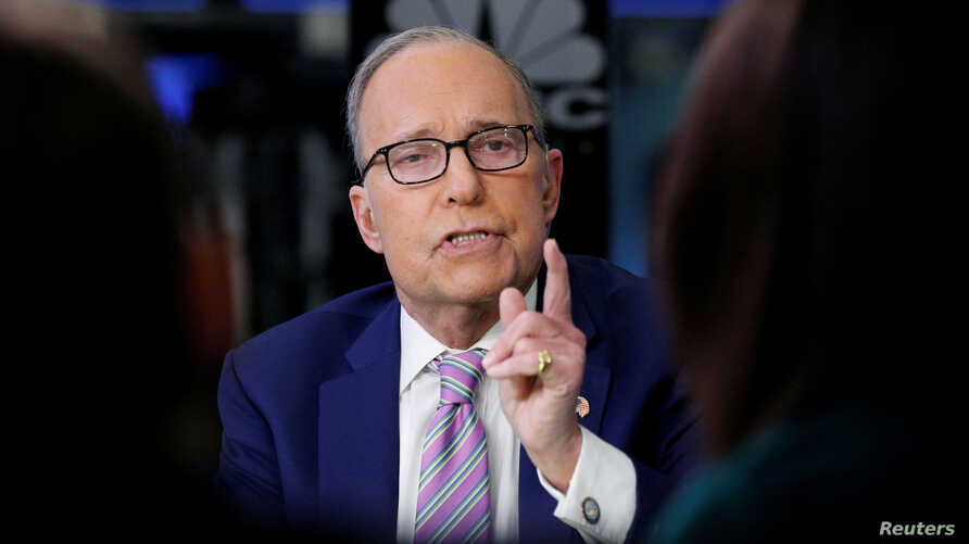 FILE - Economic analyst Larry Kudlow appears on CNBC at the New York Stock Exchange, (NYSE) in New York, March 7, 2018.