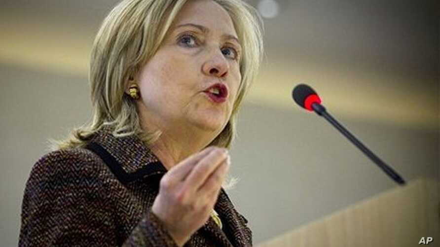 US Secretary of State Hillary Rodham Clinton speaks at the Human Rights Council in Geneva, Switzerland, February 28, 2011