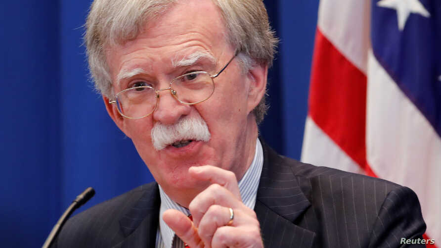 U.S. National Security Advisor John Bolton speaks during a news conference after a meeting with Russia's Nikolai Patrushev at the U.S. Mission to the United Nations in Geneva, Switzerland, Aug. 23, 2018.