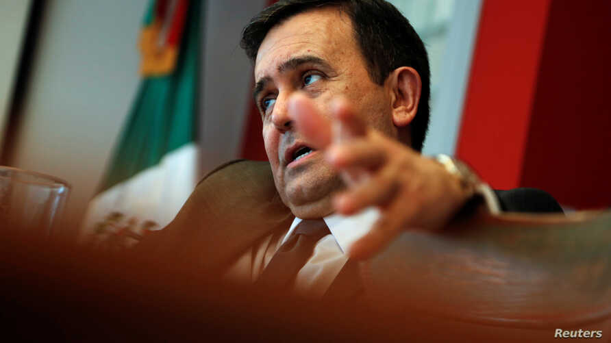 Mexico's Economy Minister Ildefonso Guajardo sits for an interview at the Embassy of Mexico in Washington, D.C., May 2, 2016.
