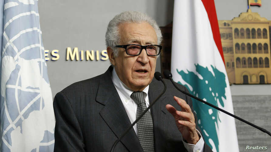 United Nations Peace Envoy for Syria Lakhdar Brahimi speaks during a news conference in Beirut, Lebanon, Nov. 1, 2013.