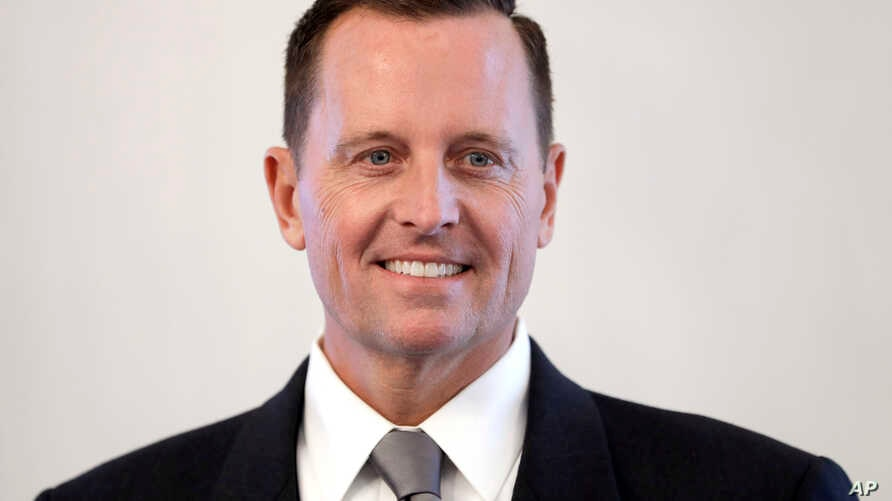 FILE - U.S. ambassador to Germany, Richard Grenell, poses for the media prior to his accreditation by German President Frank-Walter Steinmeier at the Bellevue Palace in Berlin, Germany, May 8, 2018.