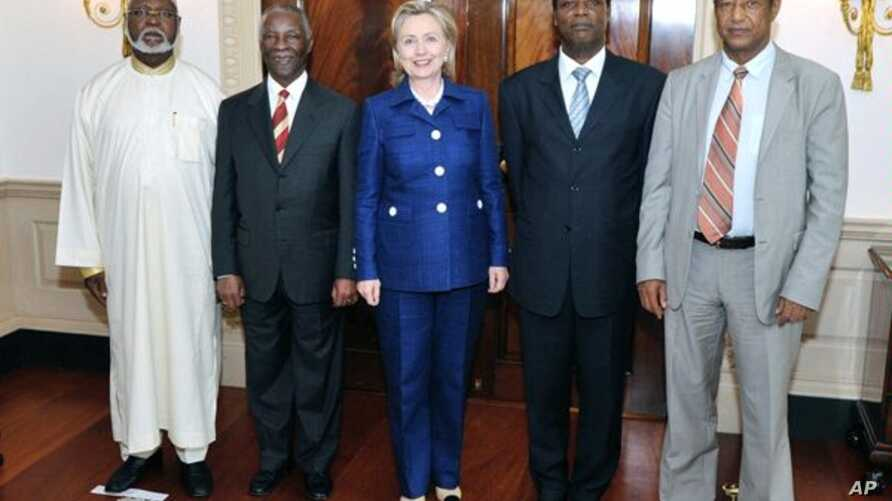 Secretary of State Hillary Rodham Clinton met with former President of South Africa Thabo Mbeki, Chairperson of the African Union High-level Implementation Panel on Sudan, and Haile Menkerios, the United Nations Special Representative for the Secreta