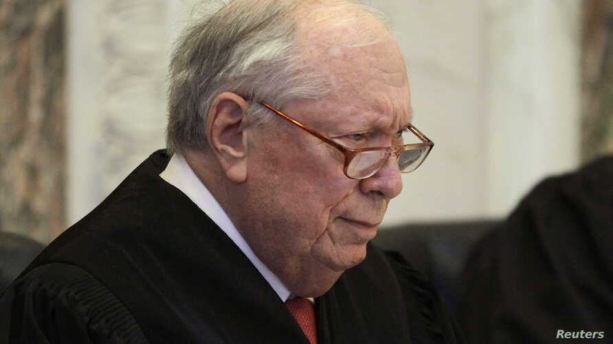 FILE - Judge Stephen R. Reinhardt listens to arguments during hearing on California's Proposition 8 at the 9th Circuit  Court of Appeals in San Francisco, Dec. 6, 2010.