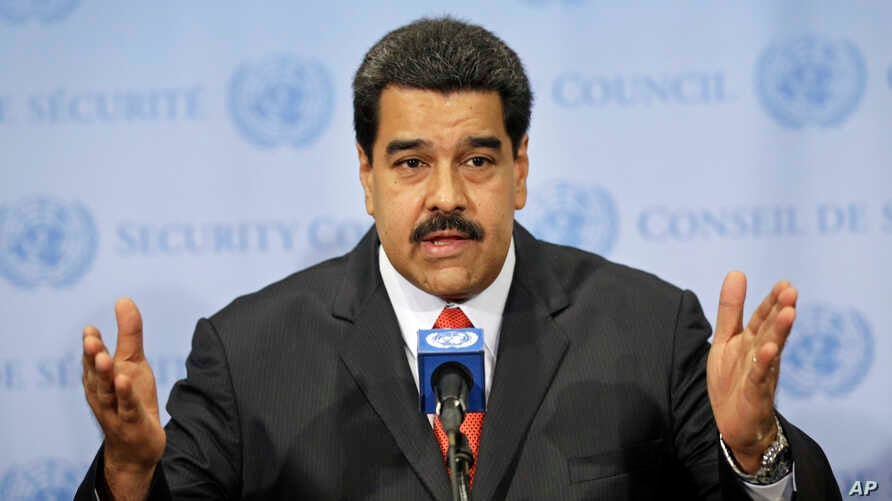 Venezuelan President Nicolas Maduro speaks to reporters at United Nations headquarters in New York, July 28, 2015.