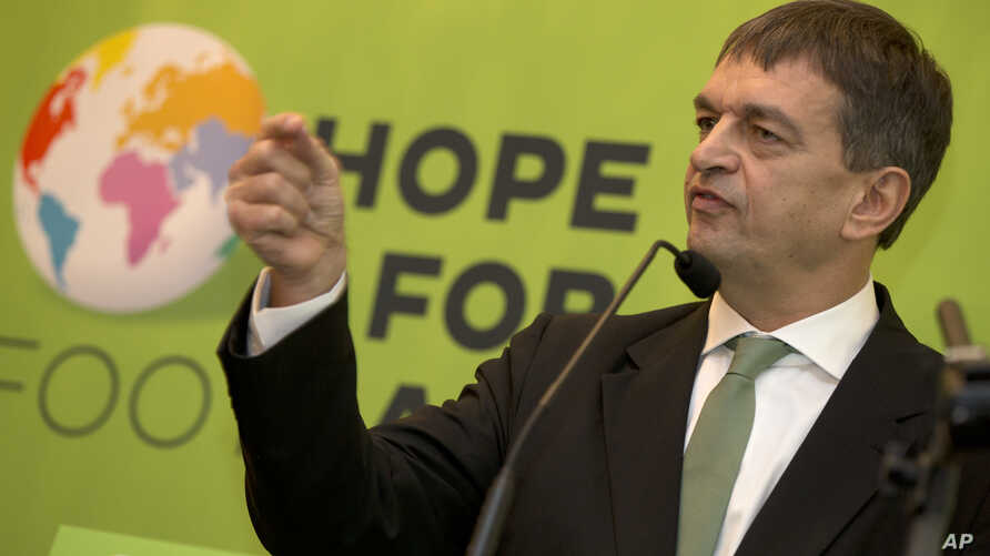 FILE - FIFA presidential candidate Jerome Champagne is seen speaking to the media in London in a Jan. 20, 2014, photo.
