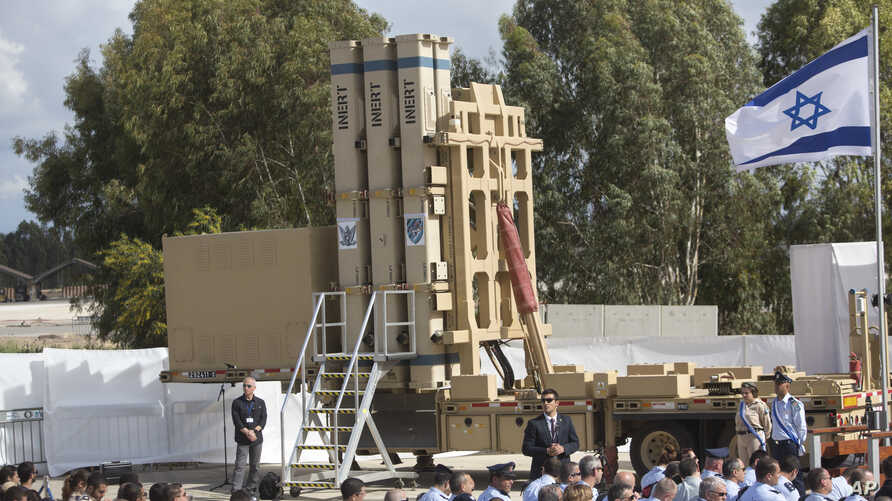 The David's Sling Air Defense System is seen during a ceremony inaugurating a joint U.S.-Israeli missile interceptor at the Hatzor Air Base, Israel. Sunday, April 2, 2017. David's Sling, meant to counter medium-range missiles possessed by Iranian-bac