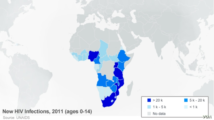 New HIV infections in Africa, ages 0-14. 2011.
