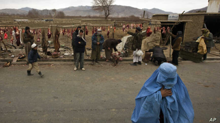 A burqa-clad woman crosses the street as butchers man their meat stalls outside Kabul, Afghanistan, 30 Dec 2010