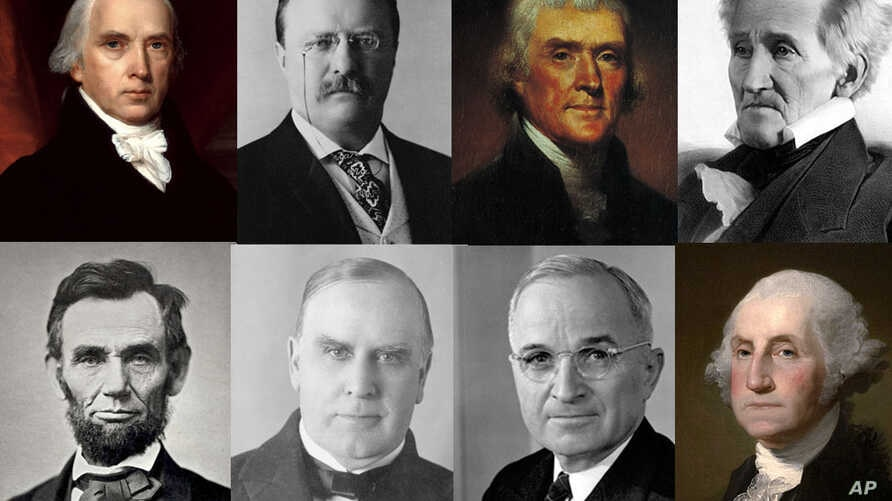 Some of the richest and poorest U.S. presidents (top row from left): James Madison, Theodore Roosevelt, Thomas Jefferson (AP Photo), Zachary Taylor. (Bottom row, from left) Abraham Lincoln, William McKinley, Harry Truman and George Washington.