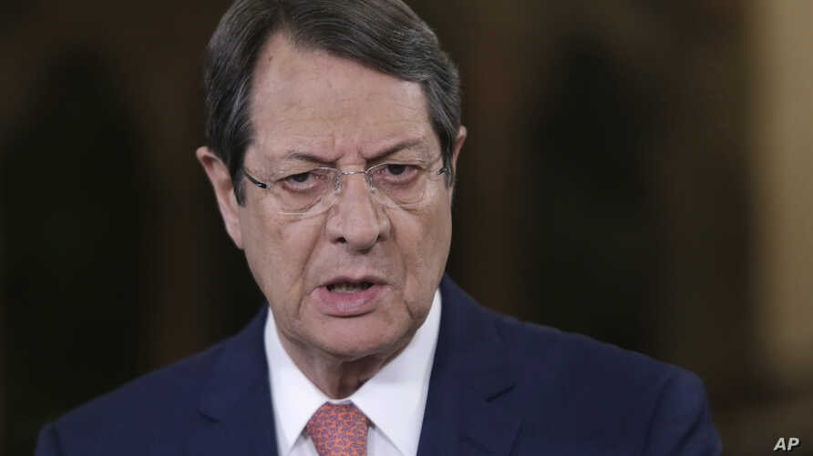 FILE - Cyprus President Nicos Anastasiades talks during a news conference at the Presidential Palace in Nicosia, Cyprus, May 22, 2017.
