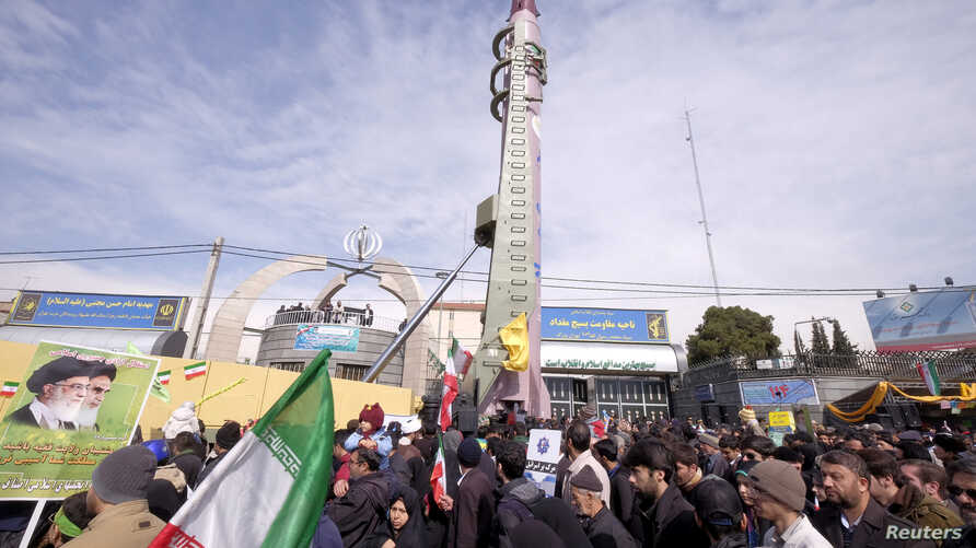 FILE - The Iranian-made Emad missile is displayed during a ceremony marking the 37th anniversary of the Islamic Revolution, in Tehran, Feb. 11, 2016.