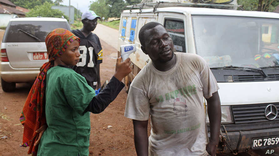 FILE -  A health worker uses a thermometer to screen a man at a makeshift road block run by Guinean security forces outside the town of Forecariah, Guinea.