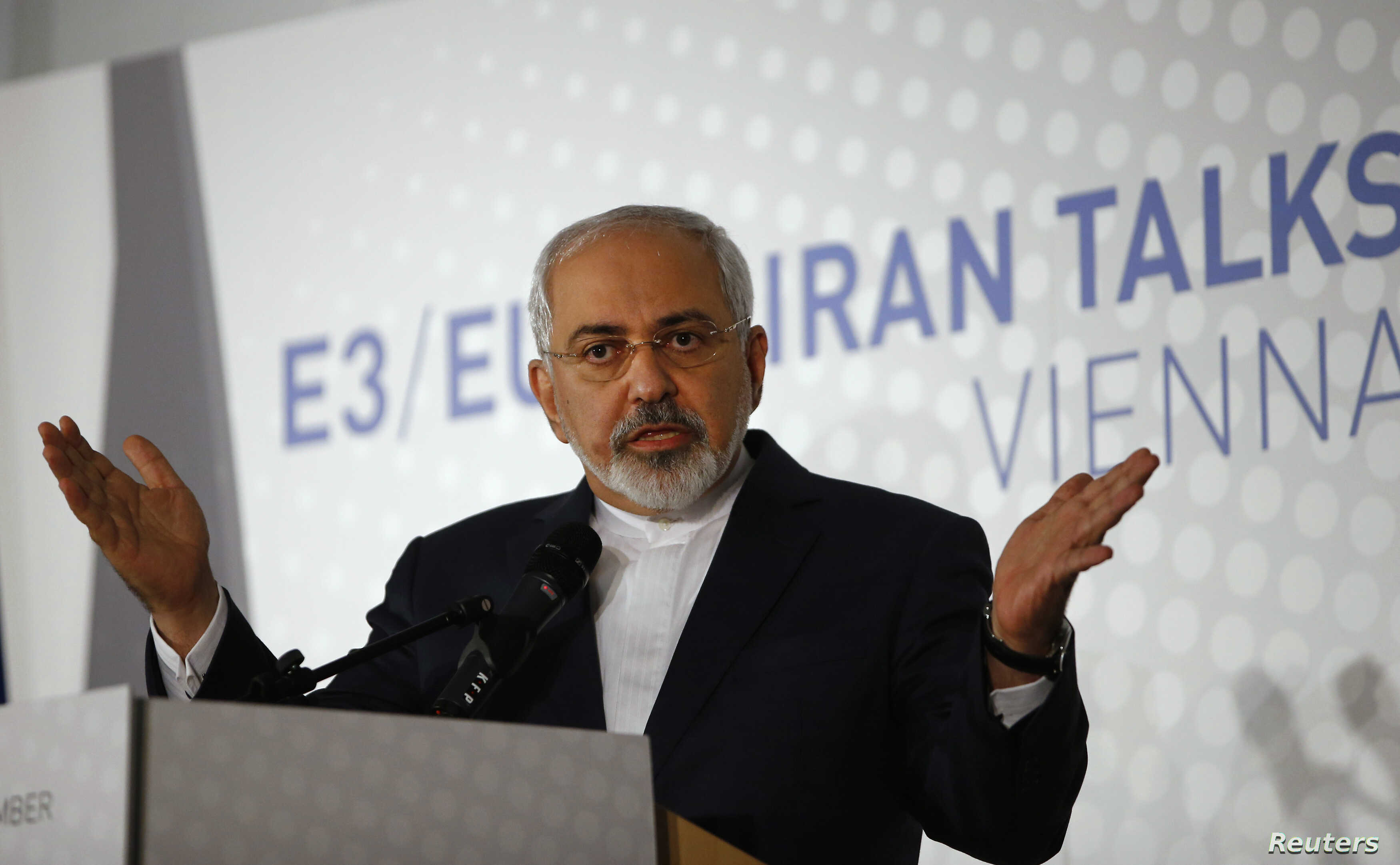 FILE - Iranian Foreign Minister Javad Zarif addresses a news conference after a meeting in Vienna.