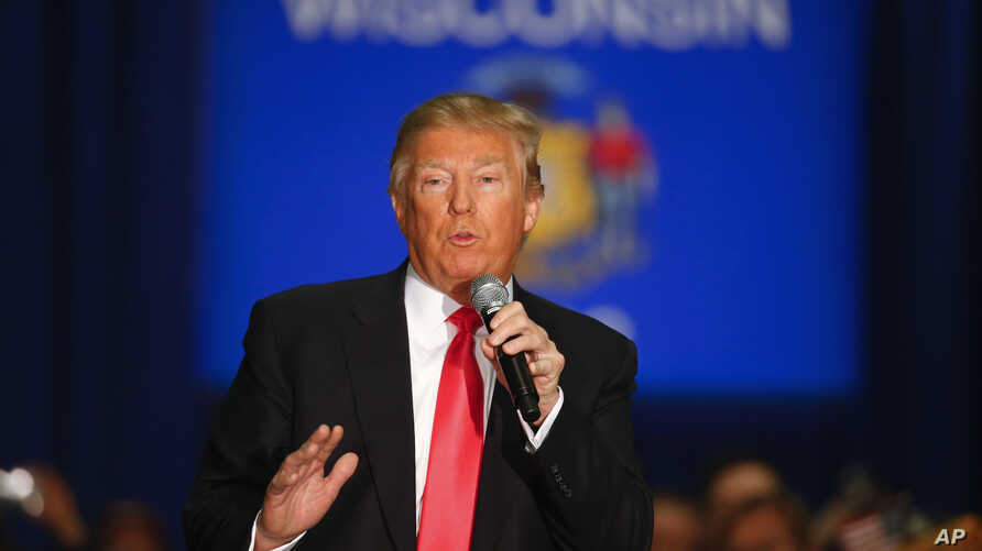 Republican presidential candidate Donald Trump speaks during a campaign event, April 4, 2016, in La Crosse, Wis.
