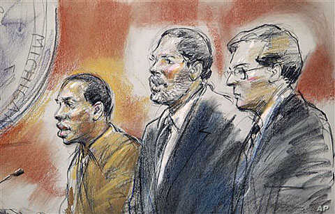 In this courtroom sketch, Umar Farouk Abdulmutallab (L) stands with his standby counsel Anthony Chambers (C) and Assistant U.S. Attorney Jonathan Tukel (R) before U.S. District Judge Nancy Edmunds in federal court in Detroit, October 2010. (file phot