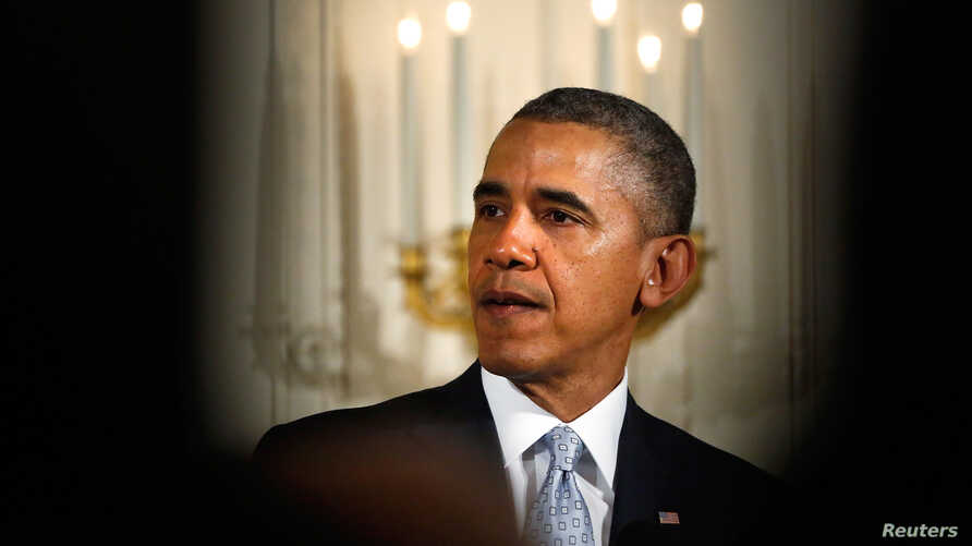 U.S. President Barack Obama makes remarks about the Passover Eve killings of three people at two Jewish community centers in the Kansas City area, during an Easter prayer breakfast in the East Room of the White House in Washington, April 14, 2014.