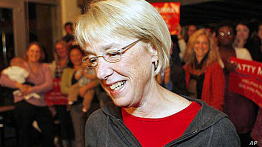 Sen. Patty Murray, D-Wash., walks in front of supporters at a downtown Seattle restaurant, after Republican challenger Dino Rossi had conceded, 4 Nov 2010
