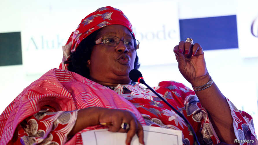 Former President of Malawi Joyce Banda speaks during a conference on women in development programme in Lagos, Nigeria, July 28, 2016.