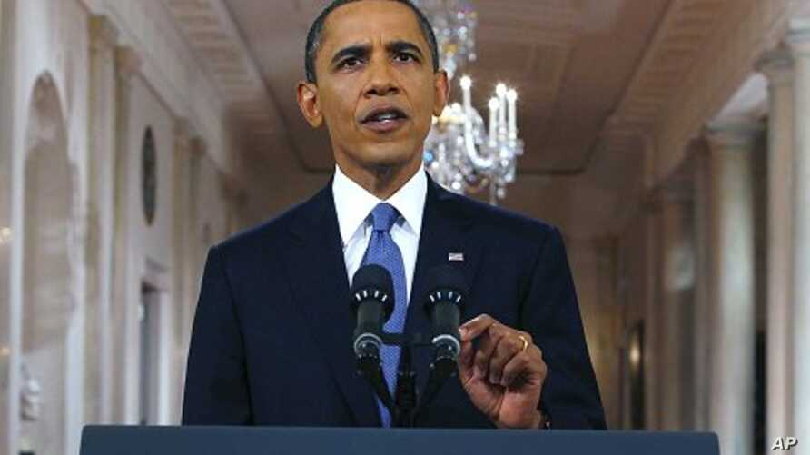 President Barack Obama announces his plan to begin withdrawing US troops from Afghanistan from the East Room of the White House on June 22, 2011.