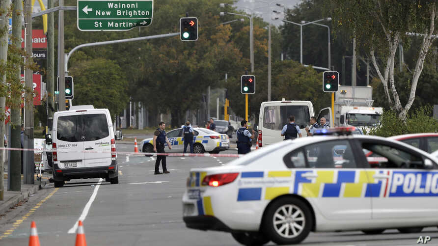 Police block the road near the shooting at a mosque in Linwood, Christchurch, New Zealand, March 15, 2019.
