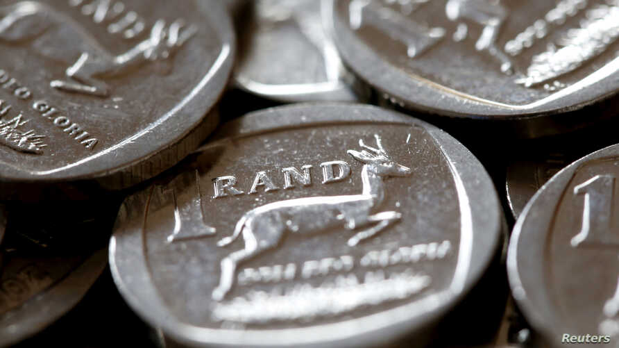 South African rand coins are seen in this photo illustration taken Sept. 9, 2015.