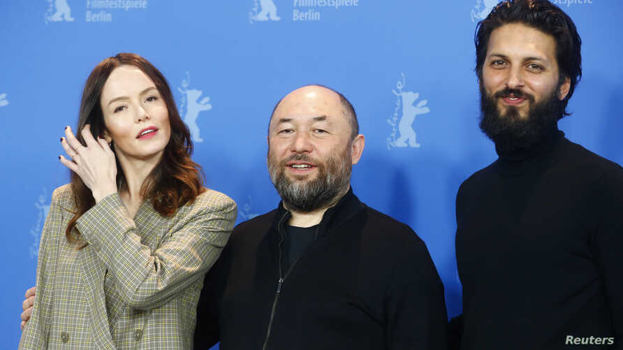 Director Timur Bekmambetov and actors Valene Kane and Shazad Latif pose during a photocall to promote the movie Profile at the 68th Berlinale International Film Festival in Berlin, Germany, February 17, 2018.