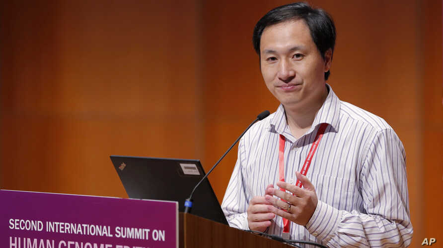 He Jiankui, a Chinese researcher, speaks during the Human Genome Editing Conference in Hong Kong, Nov. 28, 2018.