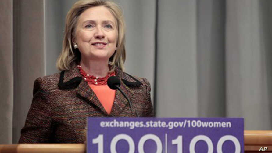 Secretary of State Hillary Rodham Clinton speaks at the '100 Women Initiative' at the State Department in Washington,  March 7, 2011