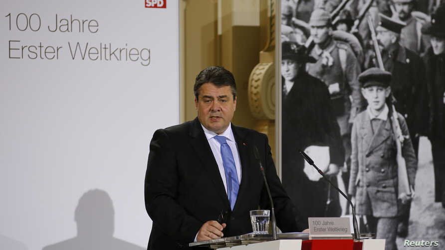 German Economy Minister and head of the Social Democratic Party (SPD) Sigmar Gabriel addresses a ceremony, held by the SPD, to mark the 100th anniversary of the start of World War One, at the French cathedral in Berlin, April 14, 2014.