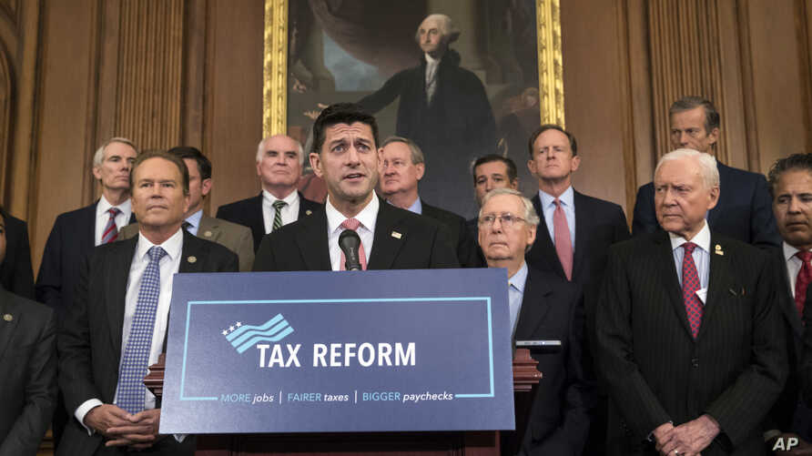 Speaker of the House Paul Ryan, R-Wis., and Senate Majority Leader Mitch McConnell, R-Ky., announce the Republicans' proposed rewrite of the tax code for individuals and corporations, at the Capitol in Washington, Sept. 27, 2017.