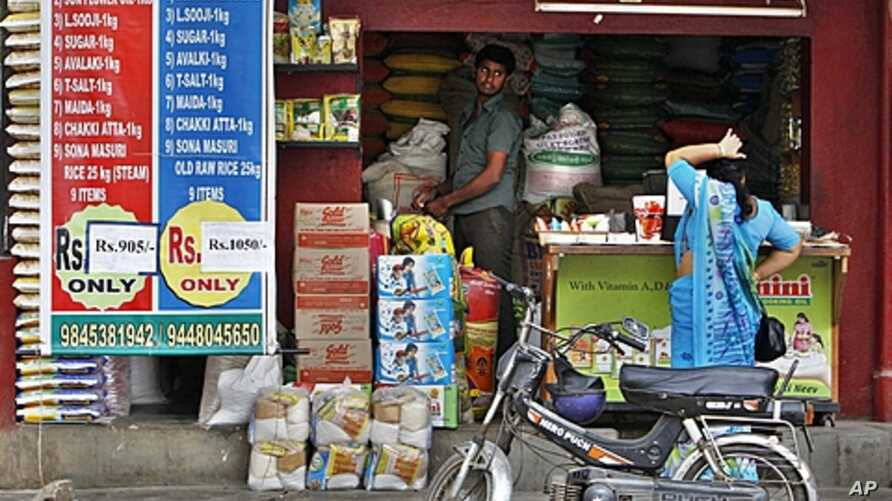 A woman shops at a local grocery store in Bangalore, India (November 2011 file photo).