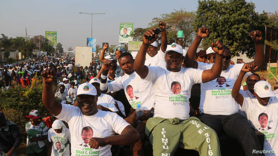 Supporters of Edgar Lungu, leader of the Patriotic Front, celebrate after Lungu narrowly won re-election, in a vote that rival Hakainde Hichilema rejected on claims of alleged rigging by the electoral commission, in Lusaka, Zambia, Aug. 15, 2016.