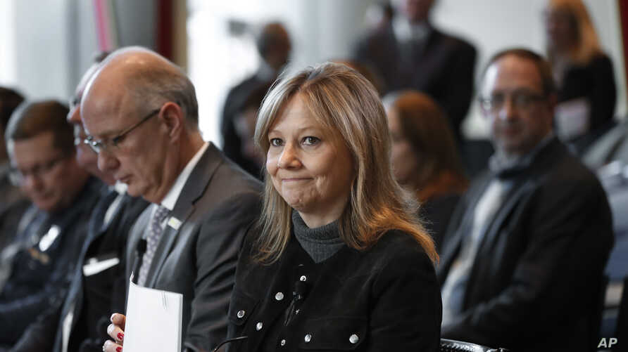 FILE - General Motors Chairwoman and Chief Executive Officer Mary Barra waits to speak at an event in Detroit, Michigan, Dec. 15, 2016.