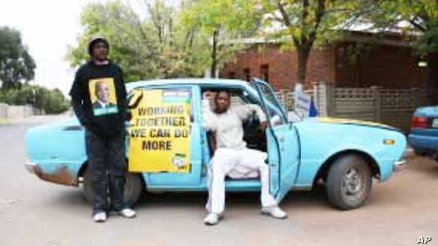 For ANC official Pitso Marumo (seated) and his colleague, Maboza Ledaka, the spirit of South Africa's 2009 election lives on