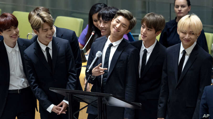 Members of the Korean K-pop group BTS attend a meeting at the United Nations high-level event regarding youth during the 73rd session of the United Nations General Assembly at U.N. headquarters, Sept. 24, 2018.