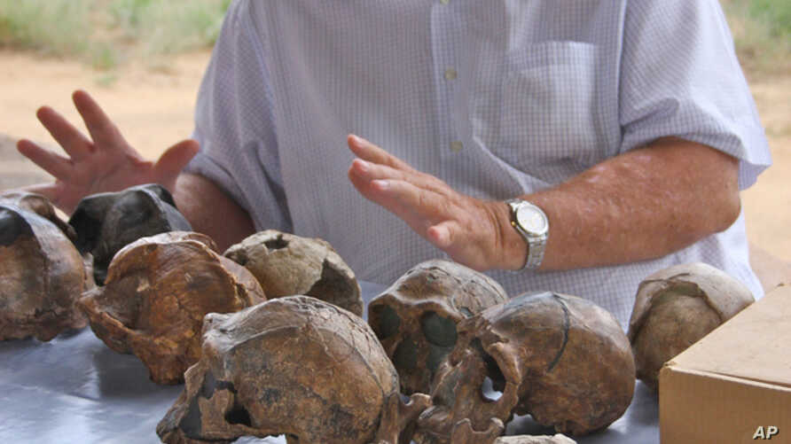 In this 2008 photo provided by the Turkana Basin Institute, paleoanthropologist Richard Leakey discusses the evidence for human evolution over a collection of hominin fossil casts at the Turkana Basin Institute's Ileret research facility in northern