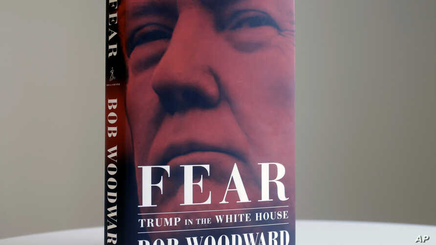 """A copy of Bob Woodward's """"Fear"""" is photographed Wednesday, Sept. 5, 2018, in New York. It's not clear whether President Donald Trump has much to fear from """"Fear"""" itself."""