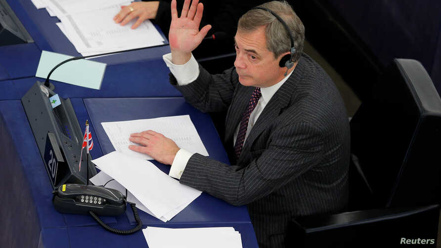 Brexit campaigner and Member of the European Parliament Nigel Farage takes part in a voting session at the European Parliament in Strasbourg, France, Jan. 16, 2018.