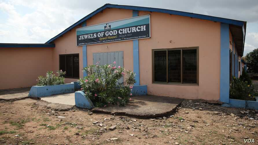 The Jewels of God church has had complaints from irate neighbors demanding that it tone down the music and preaching at all-night prayer services, in Pokuase, Ghana, Oct. 10, 2014. (Chris Stein / VOA)